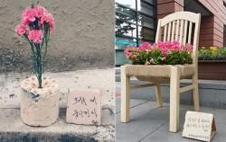 이효열 작가의 연탄꽃(좌), 교보문고(우)에 놓인 `일자리=꽃자리`