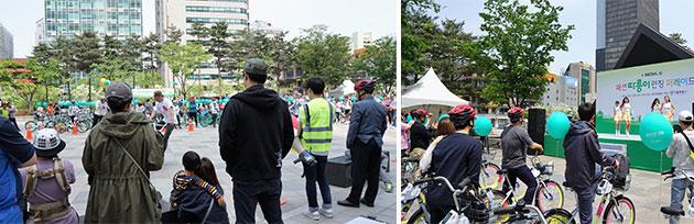 비엠엑스(BMX) 자전거 묘기를 구경 하는 시민들