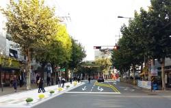 도로다이어트 개념도_시행 후 : 보행공간 확장, 도로이용 효율 증진