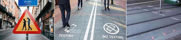 (왼쪽부터) 안내표지(스웨덴), 스마트폰 전용도로(벨기에), 스마트폰 주의신호등(독일)