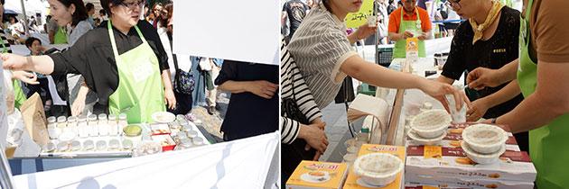 유기농 식재료(좌), 떠먹는 고구마를 판매하고 있다(우)