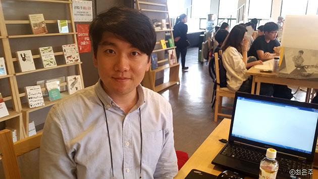 기후변화 청년모임 소속 김현태 씨는 이날 미세먼지에 대해 토론했다 ⓒ최은주
