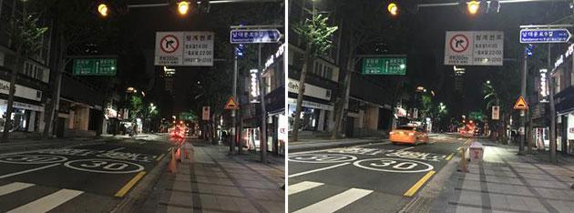 [무교로 청계천방향] 차량·보행자가 없을 시 자동으로 20% 빛 조절(좌), 차량·보행자가 있을 시 자동으로 100% 빛 조절(우)
