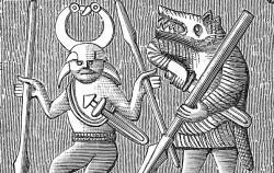 스웨덴에서 발견된 고대 청동판에 그려진 베르제르커(오른쪽)ⓒWikipedia