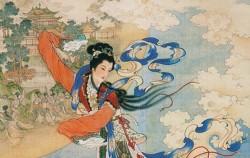 달로 날아가는 상아. 1955년, Ren Shuai Ying 작품ⓒWikipedia