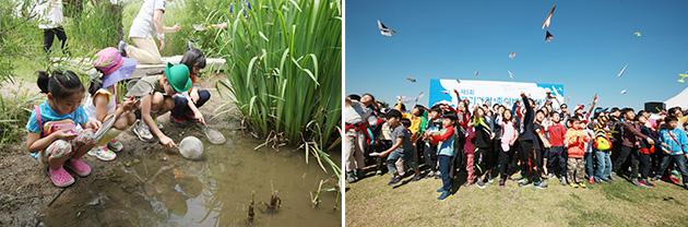 한강 어린이 생태 탐험가(좌), 한강 종이 비행기 가족축제(우)