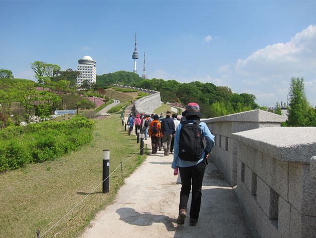 D.남산코스 : 남산구간 복원된 성벽