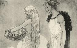 청춘의 여신 이둔을 납치해 가는 로키. 1911년 존 바우어의 삽화ⓒWikipedia