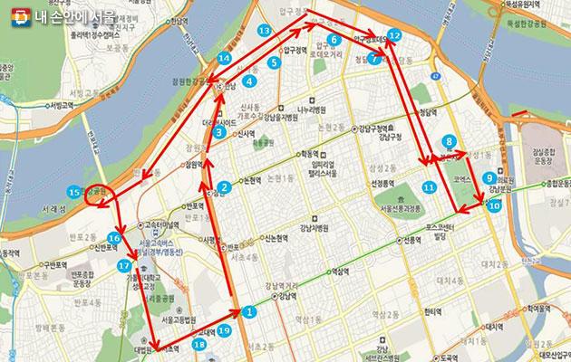 서울시티투어버스 강남순환노선도. 변경 전