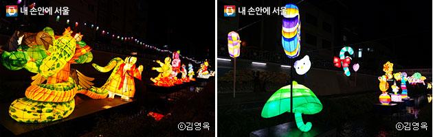 전래동화 캐릭터 등(좌)과 초록우산어린이재단이 선보인 초록색 우산등(우) ⓒ김영옥