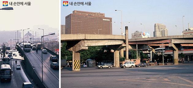 (왼쪽부터)서울역 고가도로(1996.2)/ 중림동 약현성당에서 본 서울역과 남산방향(1996.5)