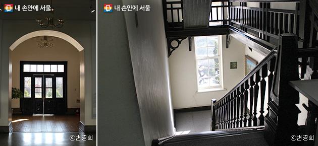 서울대의학박물관 내부. 삐걱거리는 나무계단을 밟으면 시간여행을 하는 듯하다. ⓒ변경희