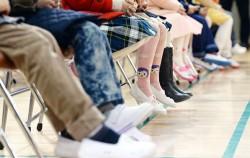 초등학교 입학식날 강당에 모인 예비 초등학생들 ⓒ뉴시스