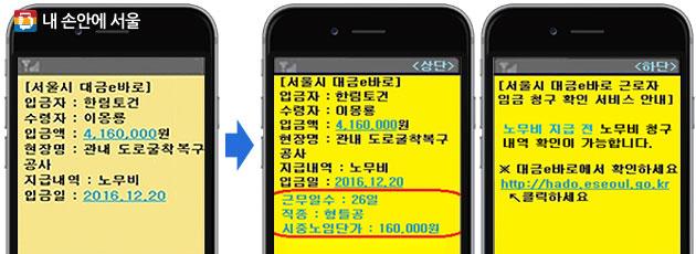 서울시 `대금e바로` 안내문자 현재(좌), 개선안(우)