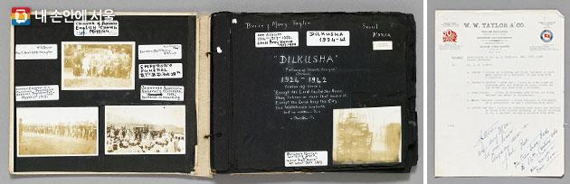 가옥의 전경, 장식품 등이 담겨 있는 딜쿠샤 사진앨범(좌), 하인의 행방이 기록된 서류(우)