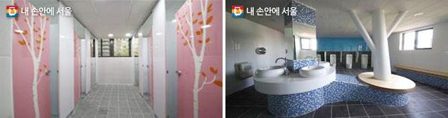 상계제일중학교 여자화장실 내부(좌) 및 신창중학교 남자화장실 내부(우)