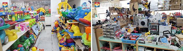 품목별로 진열된 장난감과 유아용품(좌), 제품을 업사이클링할 때 사용하는 각종 공유 공구들(우) ⓒ최용수