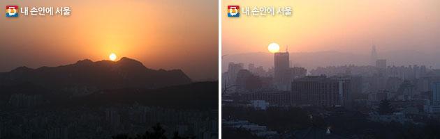 은평구 봉산 해맞이공원(좌), 종로구 인왕산 청운공원(우)