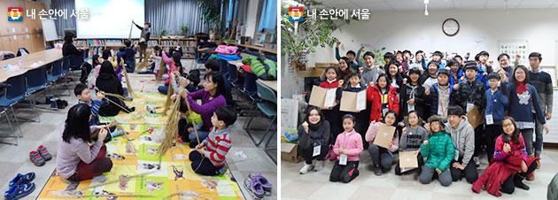 보라매공원 `새끼꼬기와 사리비 만들기`, `어린이 조경학교` 프로그램 모습