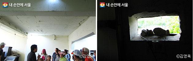 대전차방호시설을 둘러보고 있는 시민들(좌), 시설 내 북쪽을 겨냥하고 있는 탱크 총부리 구멍(우)ⓒ김영옥