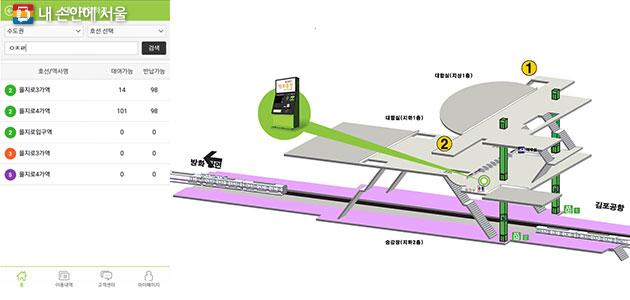 해피스팟 앱에서 `지하철역 검색화면`(좌) 및 `대여기 위치 안내화면(개화산역)` 예시(우)