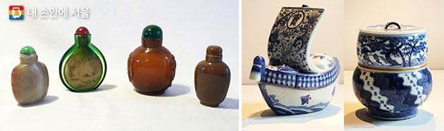 `호박목걸이`에 언급된 각종 공예품 중 중국산 비연호(좌), 자기(우측 2개)