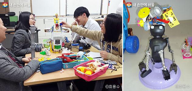 장난감학교 쓸모에서 업사이클링 체험을 하는 학생들(좌), 체험과정에서 한 학생이 만든 작품(우)ⓒ최용수