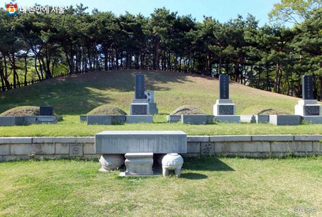 푸르른 소나무들이 뒤로 서있는 삼의사(三義士)의 묘, 맨 왼쪽이 안중근 의사의 가묘다ⓒ김종성