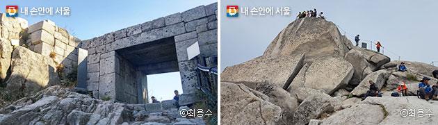 `위문`이라 불리던 '백운봉 암문'(좌), 백운대 정상에 오른 탐방객들 모습(우)ⓒ최용수
