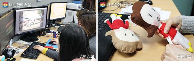 청년 소셜미디어 PD 영상팀(좌)과 자체 제작 중인 캐릭터 `미스테리`(우)ⓒ변경희