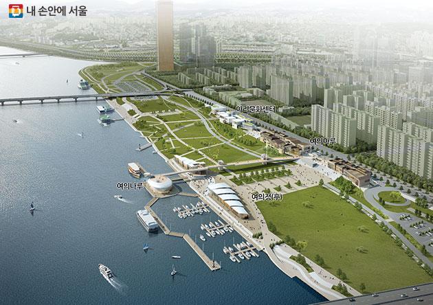 여의도 한강공원 일대의 한강협력계획 조감도