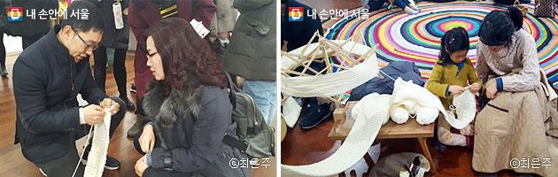 방송인 김제동 씨가 관람객에게 뜨개질 요령을 배우고 있다(좌). 고사리 손으로 뜨개질을 하고 있는 어린 아이(우).ⓒ최은주
