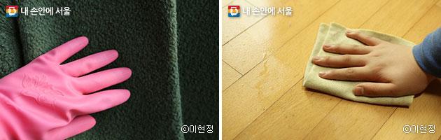 외투는 젖은 고무장갑으로 닦아 주면 먼지제거가 쉽다.(좌), 미세먼지가 높은 날은 분무기와 물걸레를 활용해 청소하자.(우) ⓒ이현정