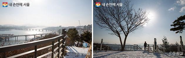 응봉공원으로 향하는 나무계단 길(좌), 다목적 운동기구와 한 시민의 모습(우)ⓒ문청야