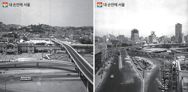 1970. 5. 29 준공 당시 서울역 고가도로(좌), 1975. 11 연장 공사 중인 서울역 고가도로(우)