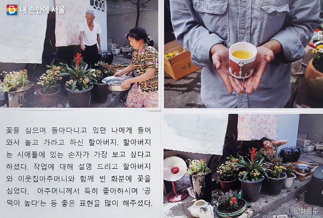 빈 화분에 꽃을 심은 이야기를 사진과 글로 정리해 전시하고 있다. ⓒ최은주