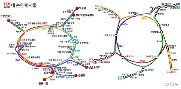 서울외곽순환고속도로를 달리는 경기순환버스 노선도 ⓒ경기도