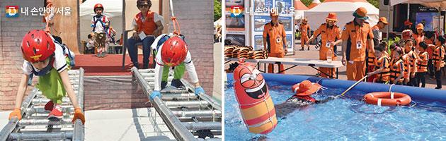 화재비상탈출 체험(좌), 수상안전 체험(우)에 참가하고 있는 어린이들