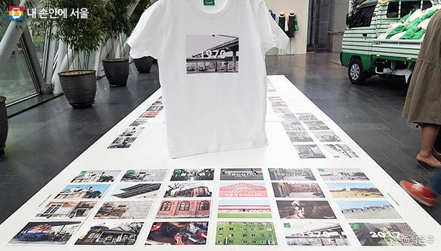 사진엽서로 제작된 `서울로7017` 명소시리즈와 기념 티셔츠 ⓒ최은주