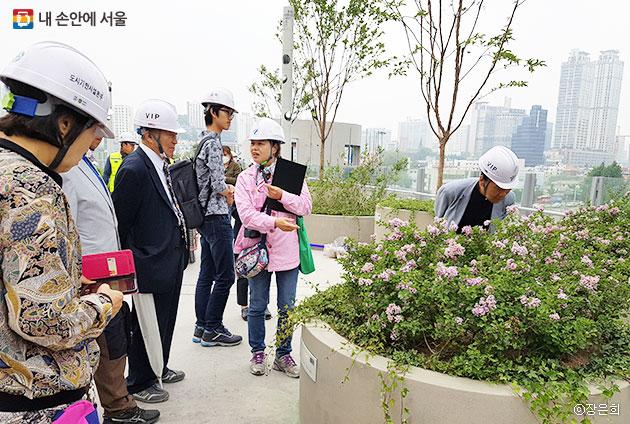 서울로7017에 식재된 식물들과 원형화분들에 대해 설명하고 있는 자원봉사자 ⓒ장은희