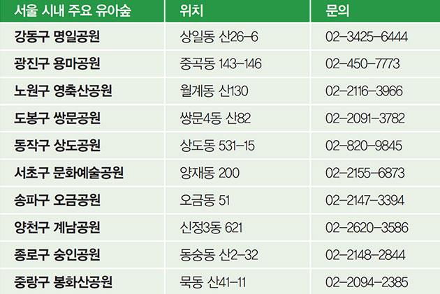 서울 시내 주요 유아숲