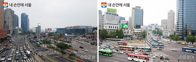 `서울로7017`'에서 본 서울역 앞 도로 ⓒ장은희, ⓒ문청야(우)