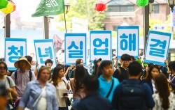청년실업 해결을 요구하는 대학생 행진에 참여한 청년들 ⓒnews1
