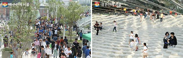 개장식 날 서울로 7017을 찾은 수많은 시민들