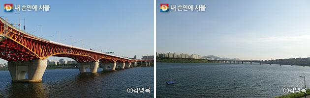 서울숲 보행 가교에서 바라본 성수대교와 한강 ⓒ김영옥