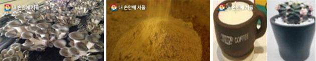 버섯 배지활용, 생균 퇴비화, 커피 캔들 · 화분(왼쪽부터)