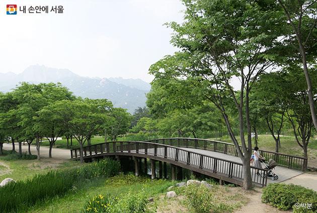 서울창포원의 아담한 다리 뒤편에 도봉산이 보인다. ⓒ박분