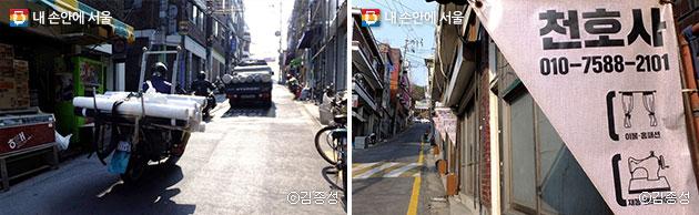 원단을 실은 오토바이들이 쉼 없이 오고가는 창신동 봉제골목(좌), 세분화, 전문화된 봉제골목 가게들(우)  ⓒ김종성