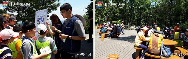 미션에 참여하고 있는 아이들(좌), 쉼터에서 휴식을 취하는 참가자들(우) ⓒ박경자