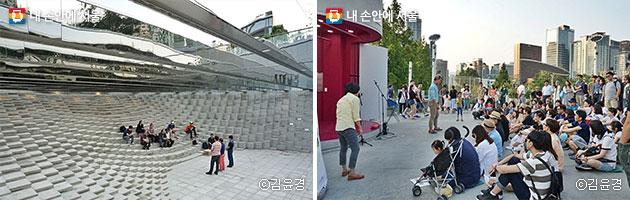 만리동 광장에 설치된 공공미술작품 `윤슬`(좌), 장미마당에서 열린 공연이 발길을 붙잡았다(우). ⓒ김윤경